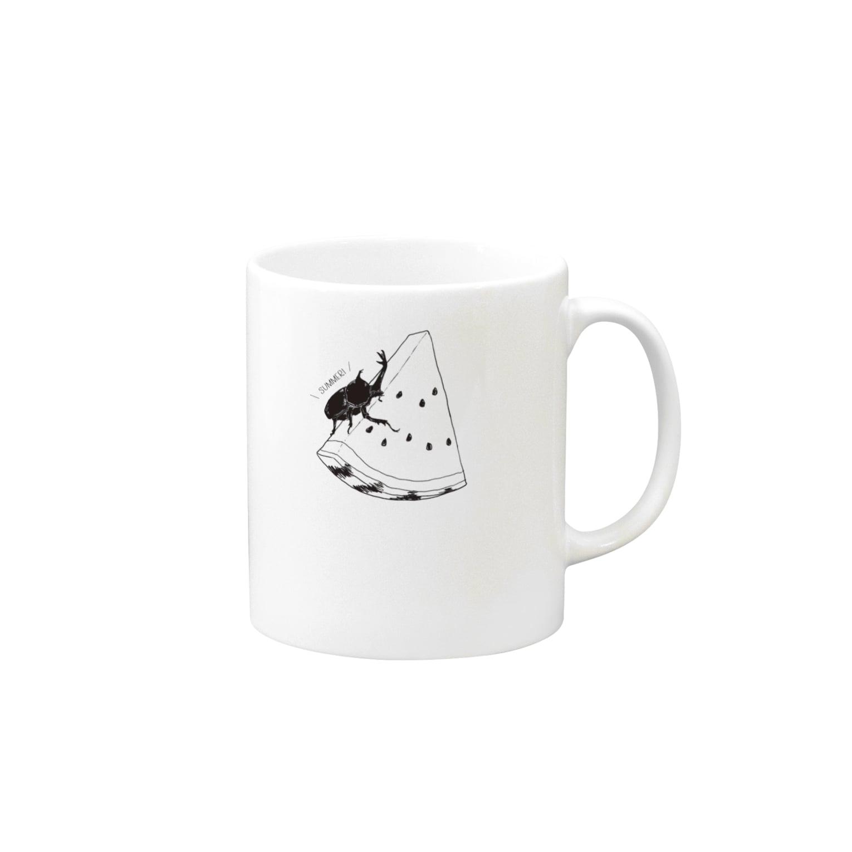 imimのsummerスイカブト白黒 Mugs