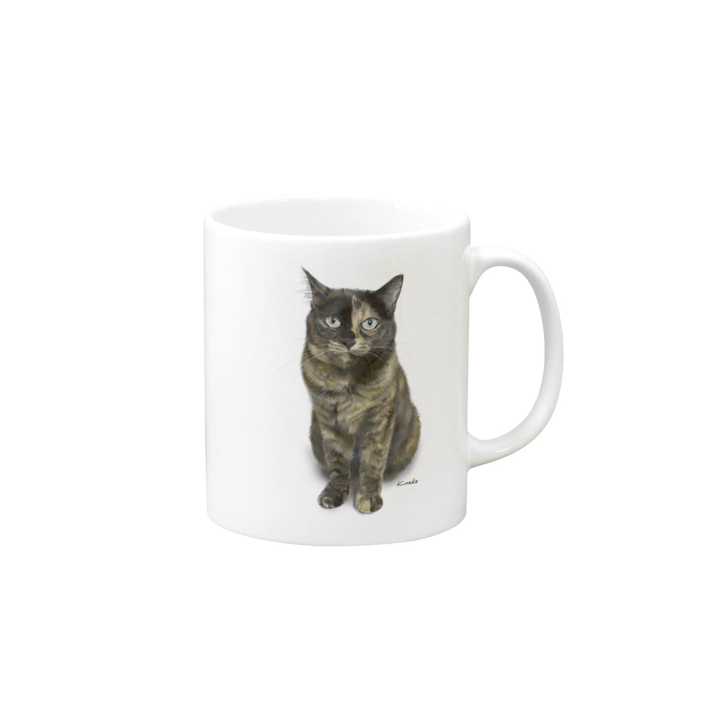 kinako-japanのサビ猫のキューちゃん 背景白 Mugs