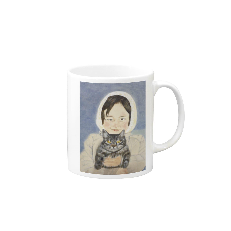 タコ夜勤@スタンプ制作致しますの少女のデザイン Mugs