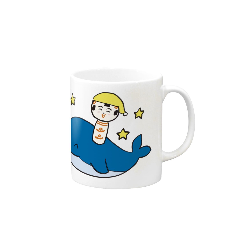 仙台弁こけしの仙台弁こけし(くじらさ乗さって) マグカップ