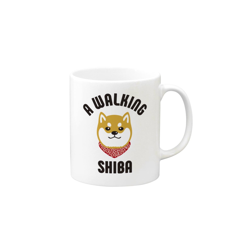 SHIBAINU BROTHERSの柴犬唐草散歩(赤) Mugs