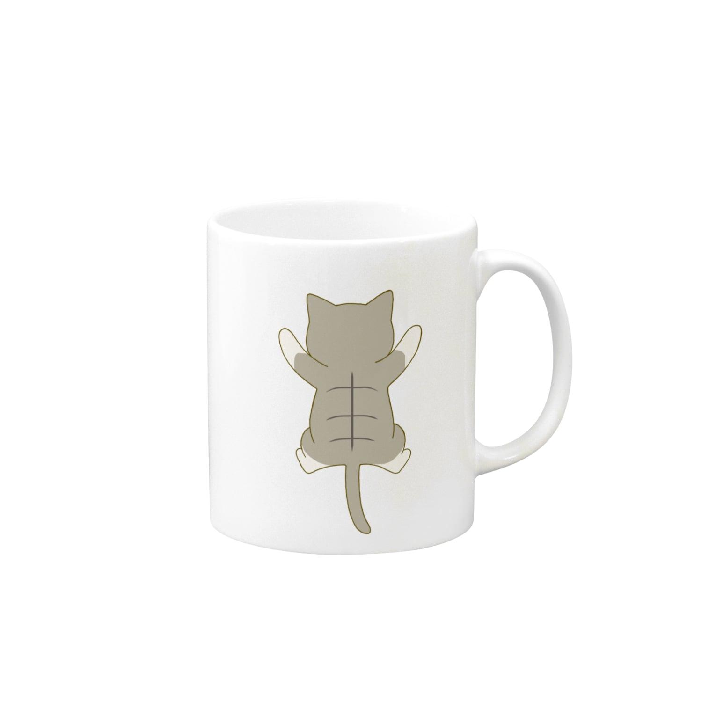 ゆめかわ屋 いそぎんちゃくのしがみつくキジ白猫 Mugs