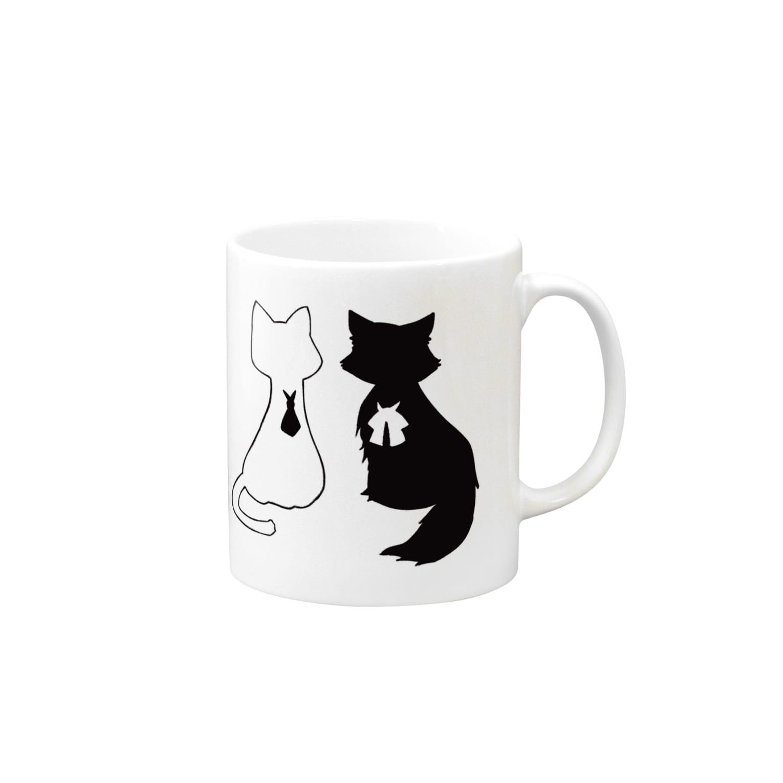 ちまとりーのねこ(白と黒) Mugs