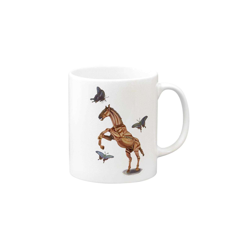 波田野剛望(はたのたけみ)の馬と蝶 Mugs