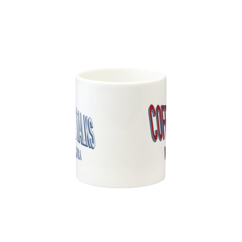 コーヒートークス COFFEE TALKSのダブルロゴ COFFEE TALKS KAMAKURA コーヒートークスカマクラ ロゴ LOGO cafe カフェ PINK COFFEE BEANS BARISTA コーヒー豆 コーヒースタンド カフェ CAFE COFFEE STAND バリスタ Mugsの取っ手の反対面