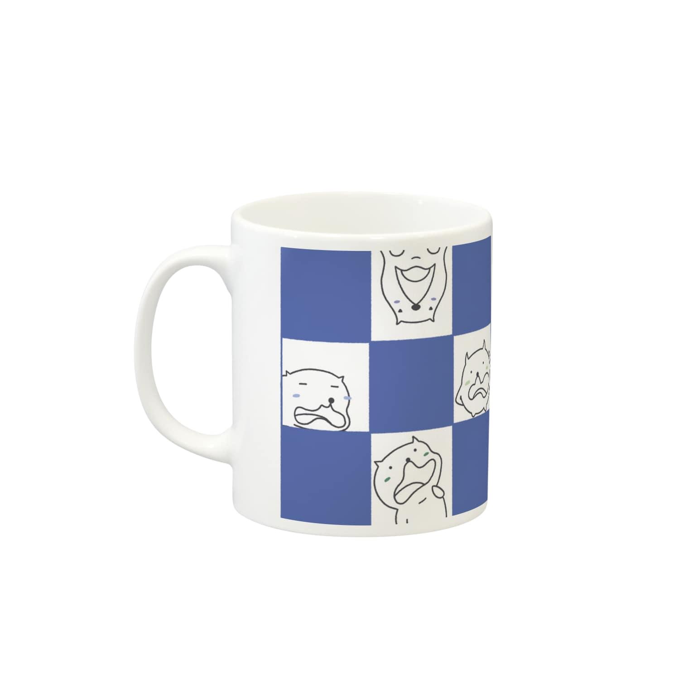 のなと🍃イラストレーター的デザイナーな来世の生き物🌿のみゅふー千鳥柄(海) Mugsの取っ手の左面