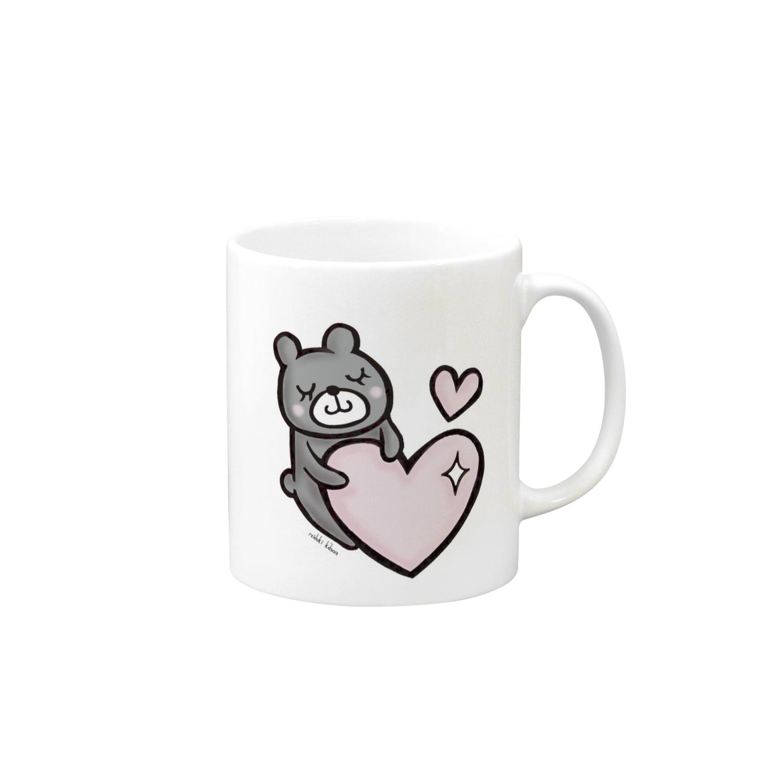 ~Good Luck Charm~ 海月叶音の【再販】ほっこりクマさん Mugsの取っ手の右面