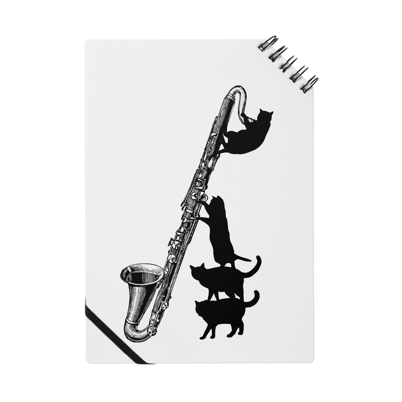 音楽雑貨でぶねこのバスクラリネットと黒猫 Notes