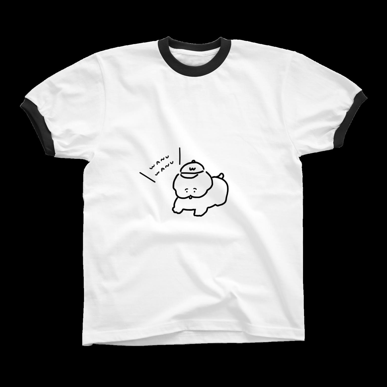 ワヌ山のお散歩ワヌちゃん(くろ)リンガーTシャツ
