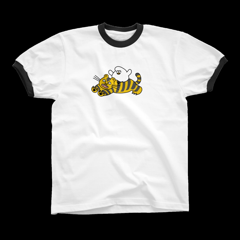mugny shopの虎視眈々 リンガーTシャツ