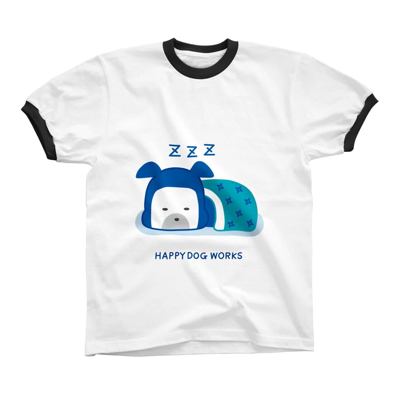 HAPPYDOG製作所@SUZURI支店のHAPPY DOG WORKS 忍者_すやすや リンガーTシャツ