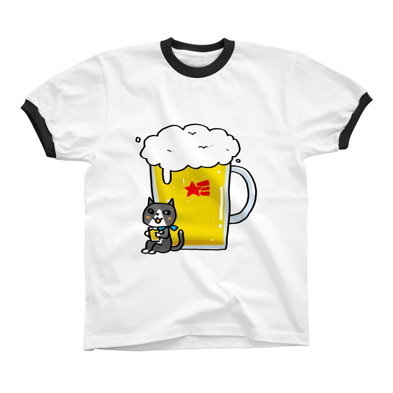 さややん。のお店の生ビール大で リンガーTシャツ