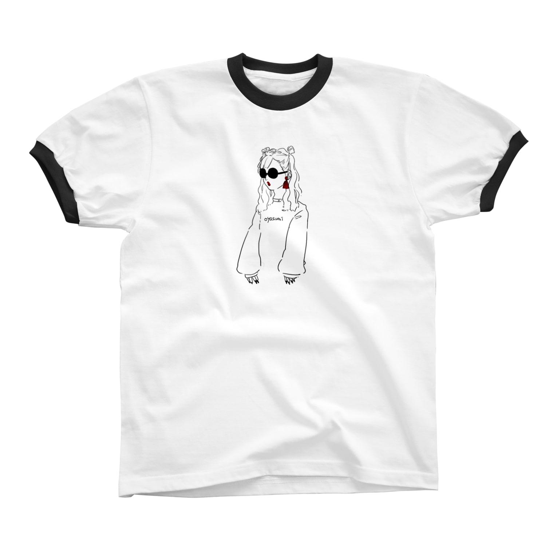 おやすみ屋さん(仮)のシマちゃん Ringer T-shirts