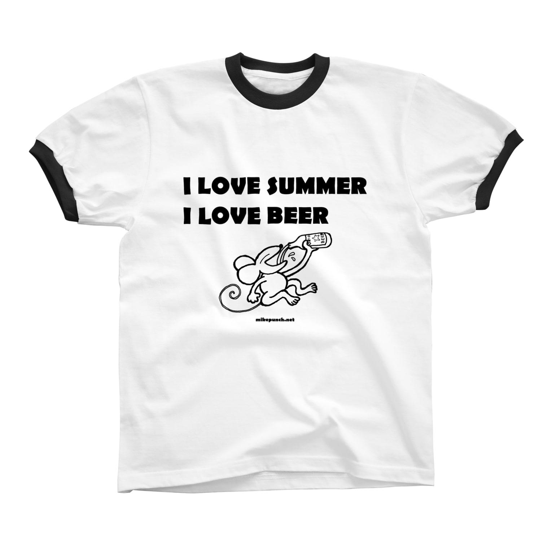 mikepunchのI LOVE SUMMER, I LOVE BEER Ringer T-shirts