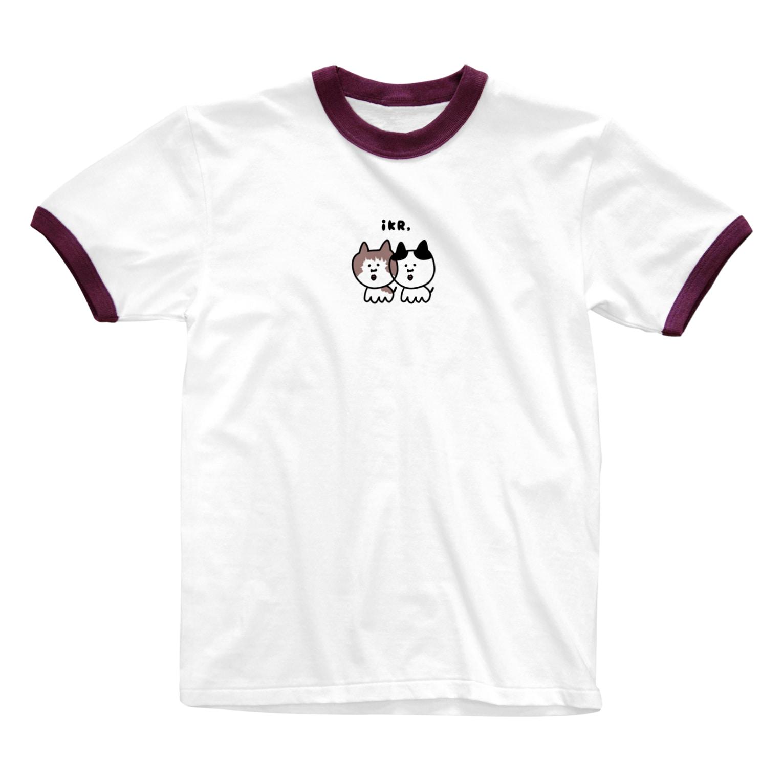 iKR,のネコっち #まろぽん Ringer T-shirts