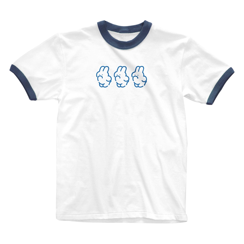 nsnの3(BLUE) Ringer T-shirts