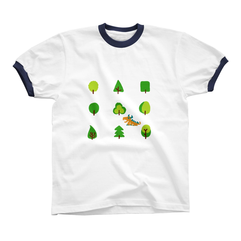zentoyのwoods and dragon リンガーTシャツ