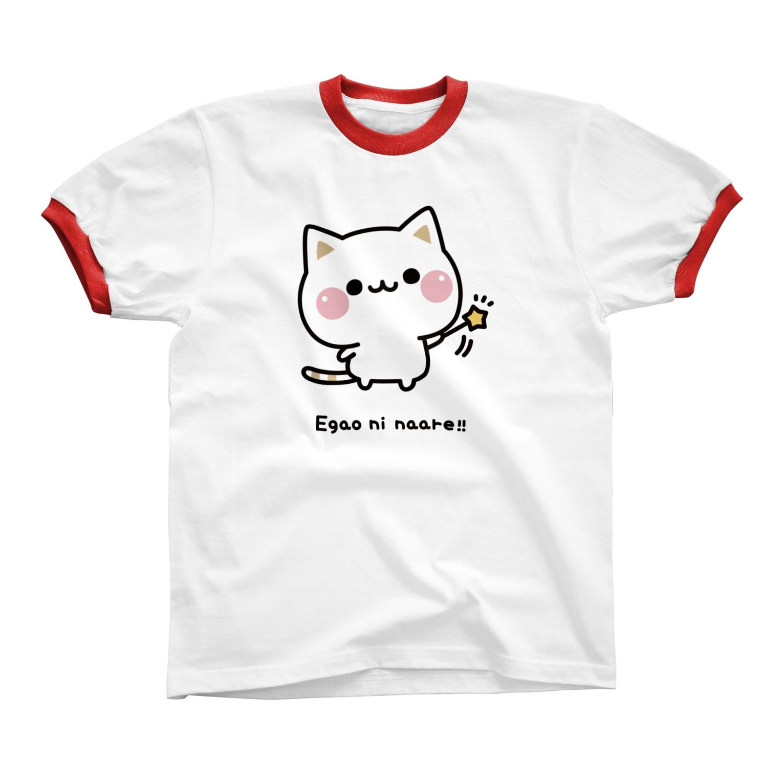 DECORの気づかいのできるネコ 笑顔になぁれver. Ringer T-shirts