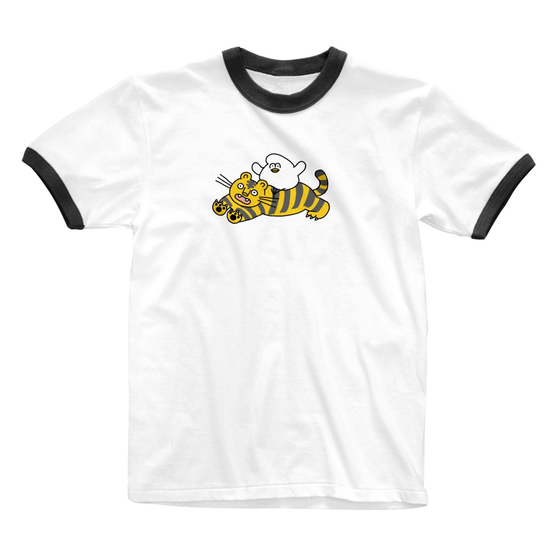 mugny shopの虎視眈々 Ringer T-shirts