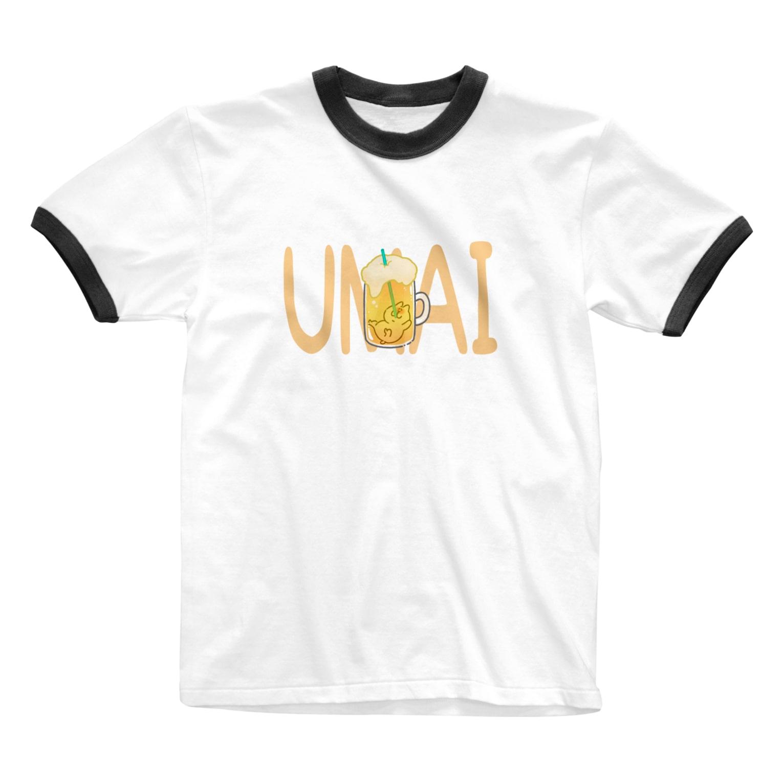 kawabe-konのUMAIビール Ringer T-shirts
