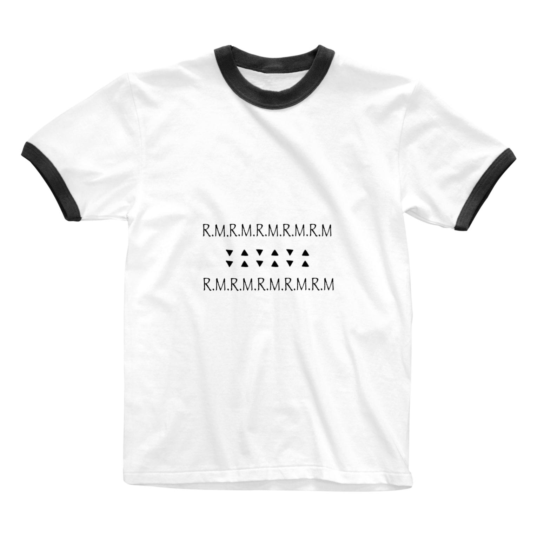 R.M_shopのR.Mロゴ Ringer T-shirts