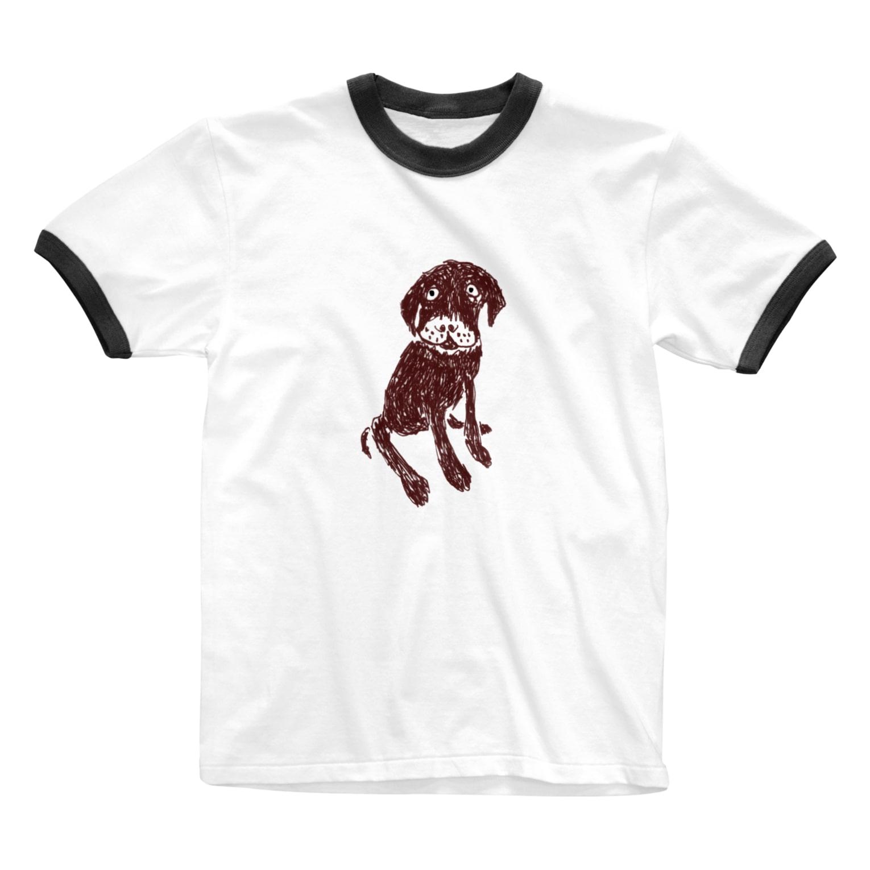 NIKORASU GOのチョコラブデザインTシャツ「それでおすわり?」 Ringer T-shirts