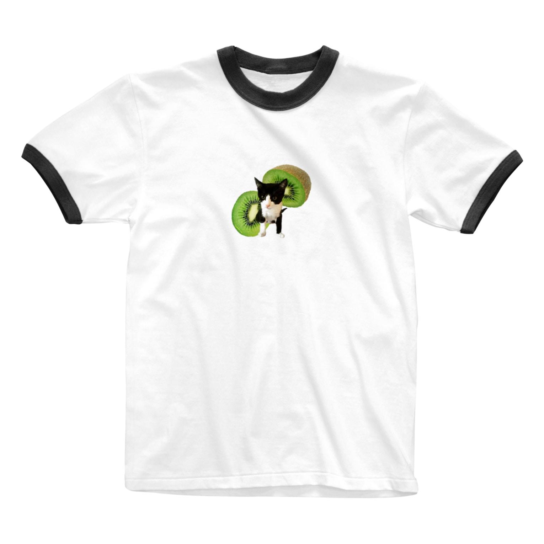 保護猫カフェ「駒猫」さん家のNo.5 キウイくん♪ Ringer T-shirts