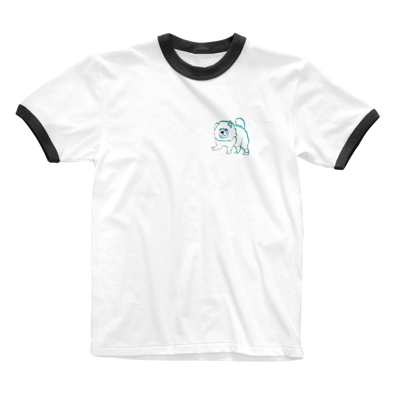 worldwide_02の犬チャウチャウまさかのウサギ色 Ringer T-shirts