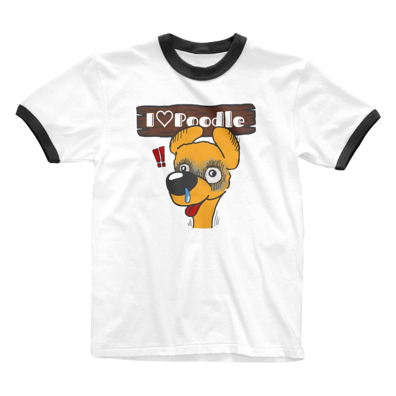 Hi-BoのI Love Poodle(ビクッ!!) Ringer T-shirts