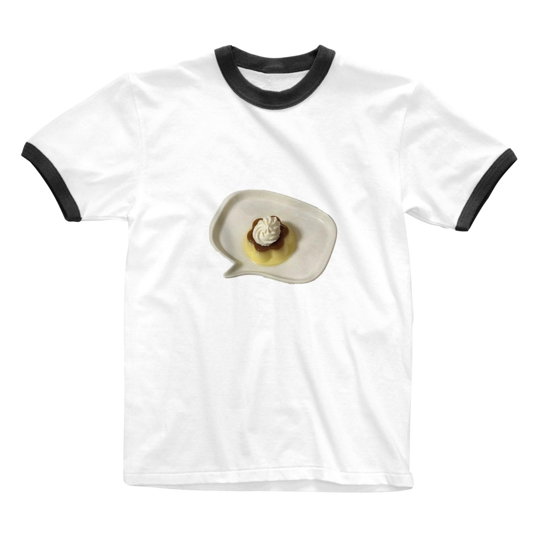soyona worldのふきだしの中のプリン Ringer T-shirts