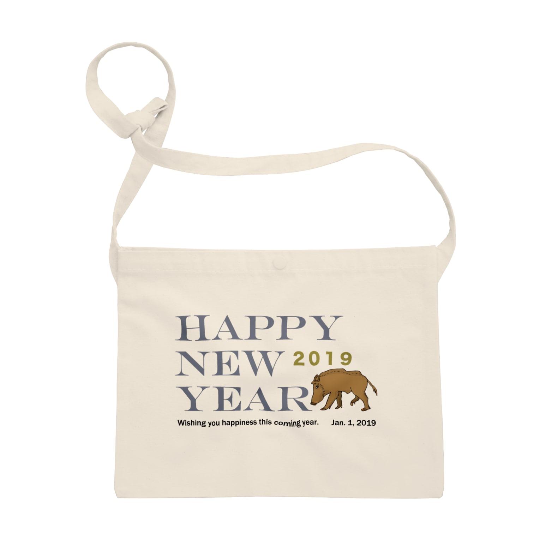 ジルトチッチのデザインボックスの2019亥年の猪のイラスト年賀状イノシシ Sacoches