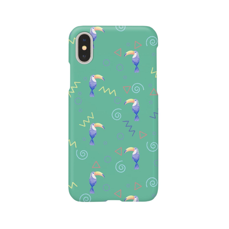 Fanfleecyのトロピカルバード(green) Smartphone cases