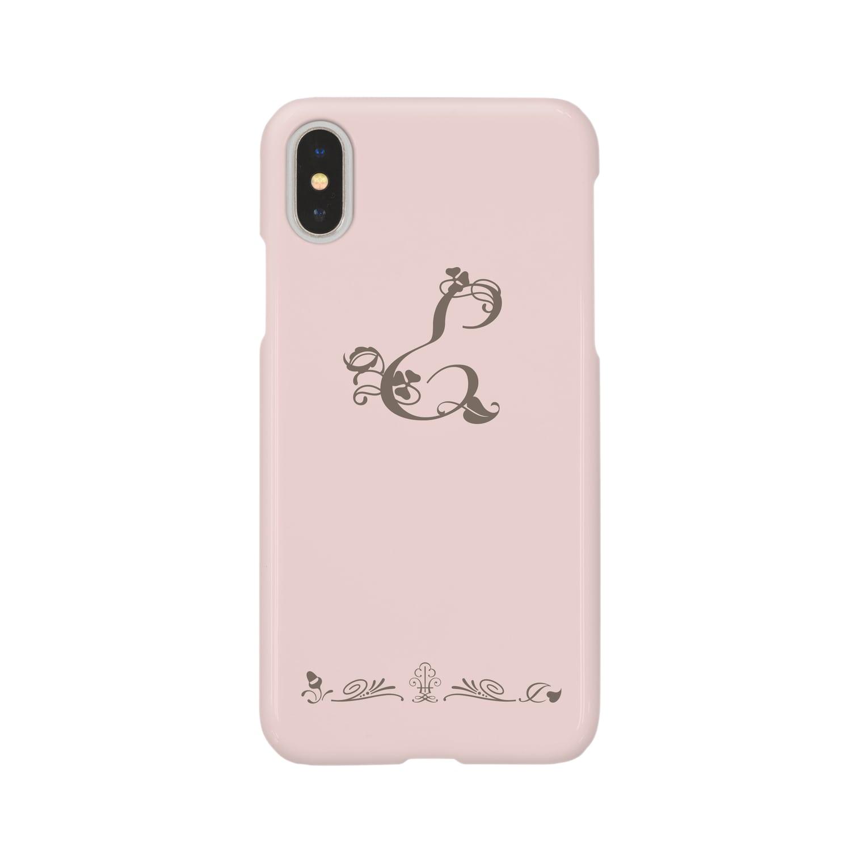 sonoteniのアルファベット イニシャル ボタニカル ピンク E #133 Smartphone cases