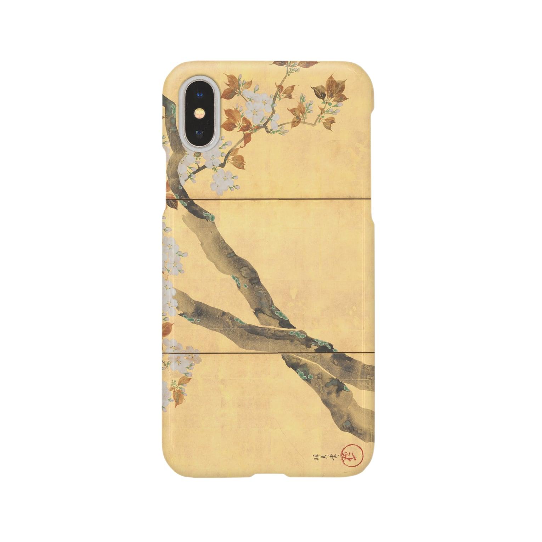 HOKO-ANの酒井抱一筆 桜図屏風(右隻) iPhoneケース Smartphone cases
