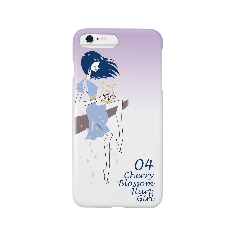 tomokomiyagamiのCherry blossom Harp Girl スマートフォンケース