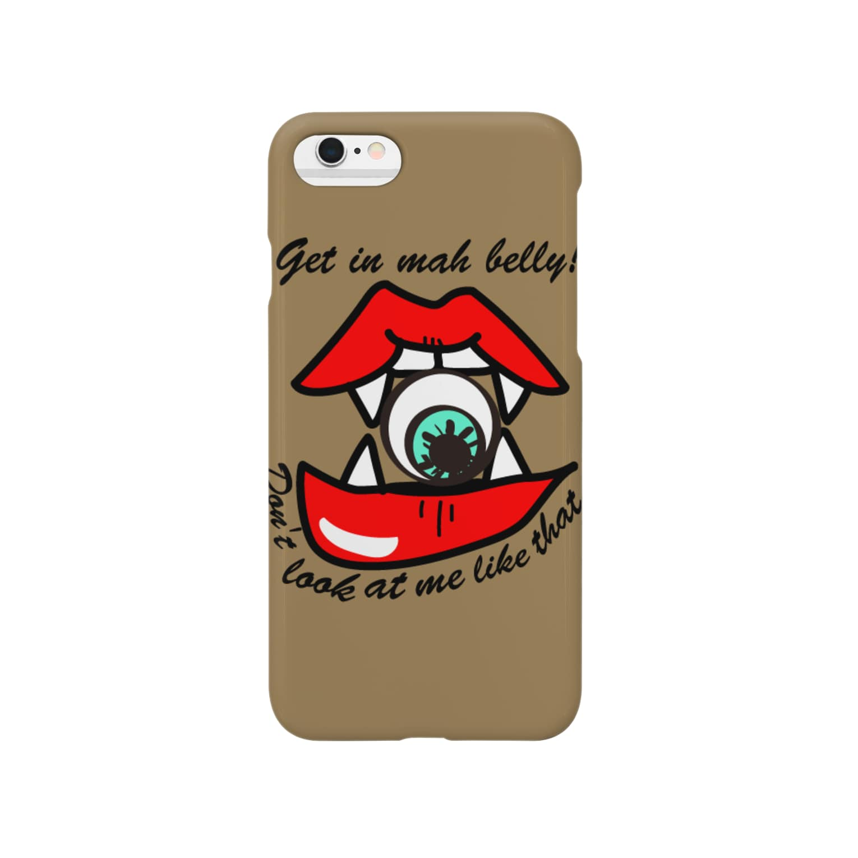 ワタシダ■LINEスタンプ販売中■のこっち見んな!食べちゃうゾ♡(チャコール) Smartphone cases
