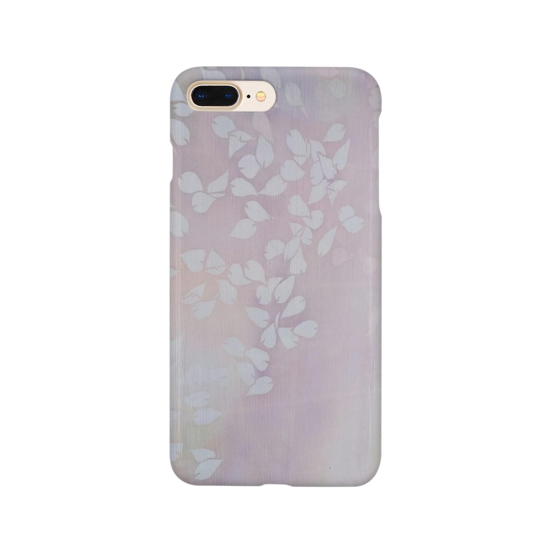 art-healing-awazuの「今・盛りなり」 手染め ろうけつ染め桜 花びら Smartphone cases