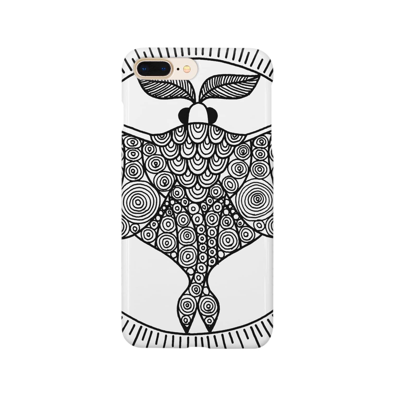 アトリエ蟲人のオオミズアオ 線画(黒ver) Smartphone cases