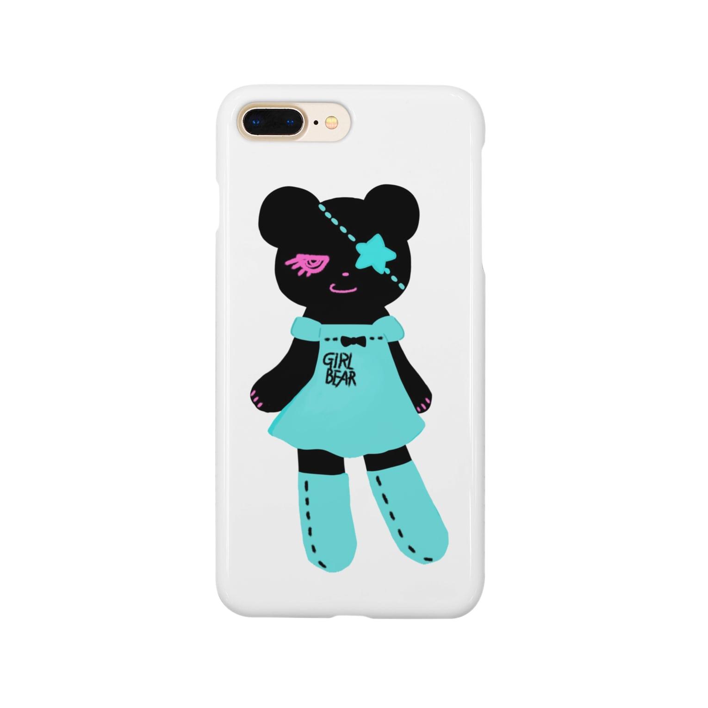 Suzuki Satomi イラストショップの黒クマちゃん Smartphone cases