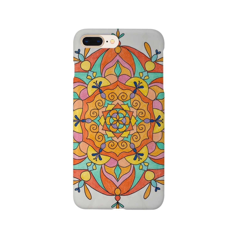 saiko-ruiのマンダラORANGE Smartphone cases