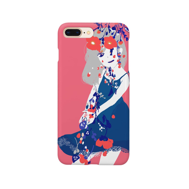 せんのポピー溢れる女の子 ピンク Smartphone cases