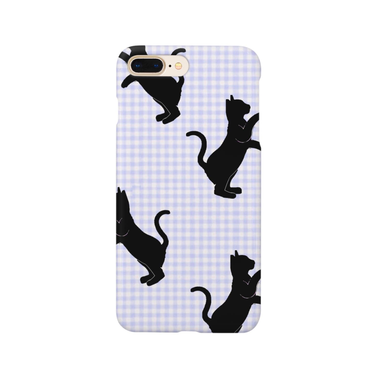 気ままな雑貨屋さんのネコ:シルエット:青色@気ままな雑貨屋さんらんず スマートフォンケース Smartphone cases
