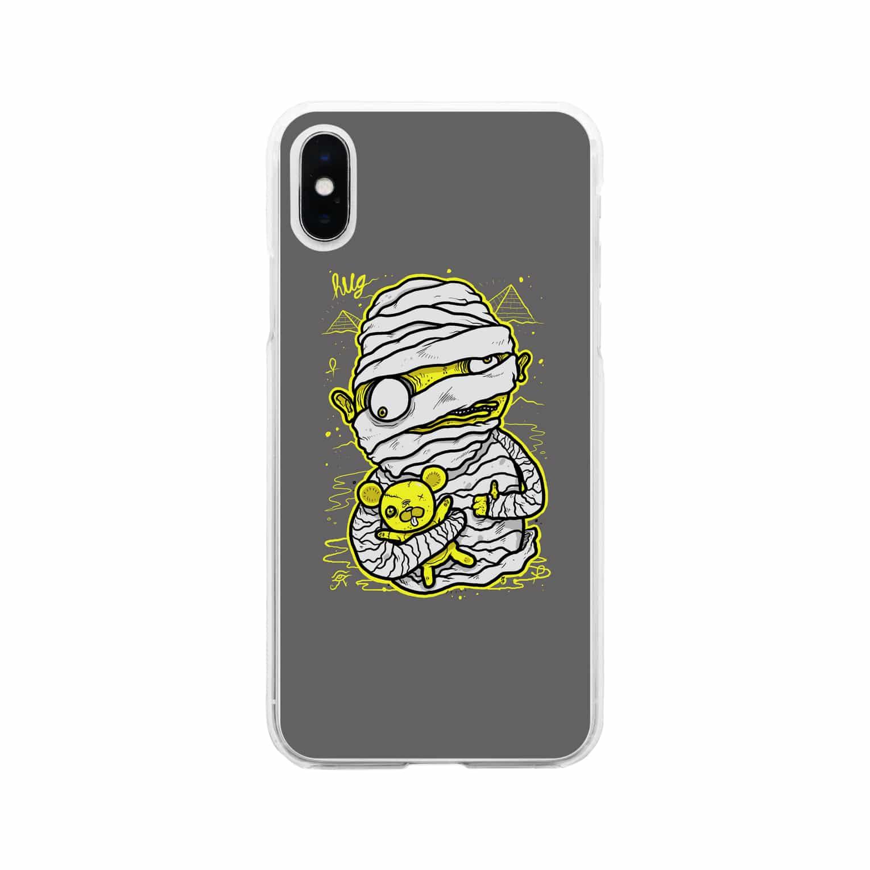 HUGオフォシャルショップのMummy Grey Soft clear smartphone cases