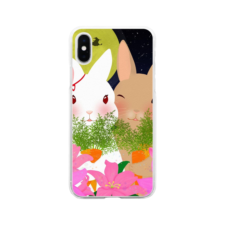 asahiyoruaの月見ちゃん仲良しグッズ Soft clear smartphone cases