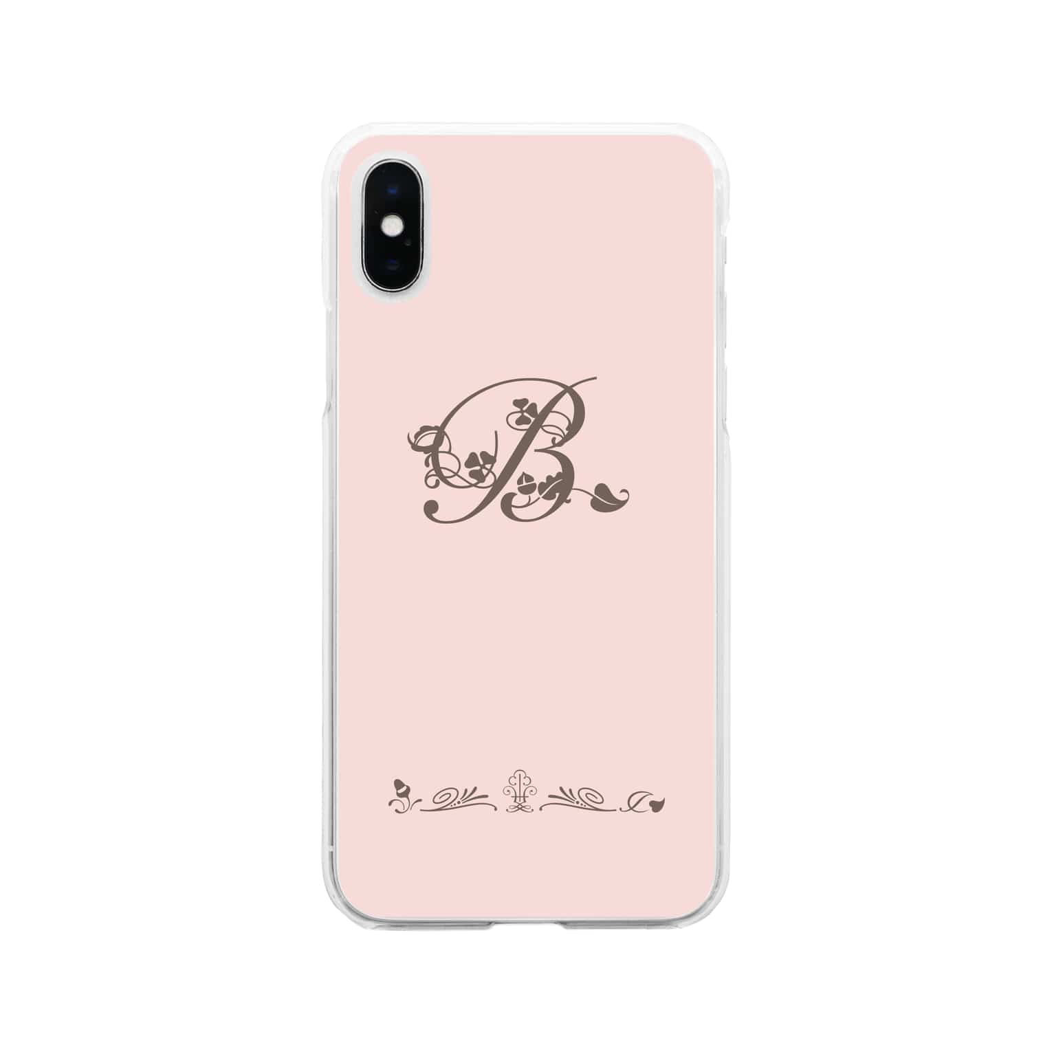 sonoteniのアルファベット イニシャル ボタニカル ピンク B #130 Soft clear smartphone cases
