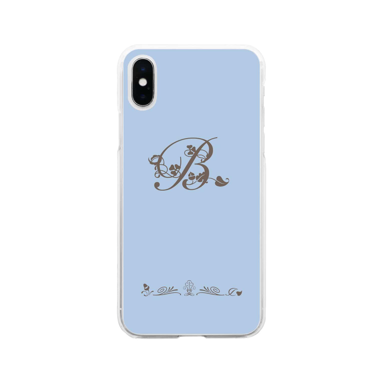 sonoteniのアルファベット イニシャル ボタニカル ブルー B #155 Soft clear smartphone cases