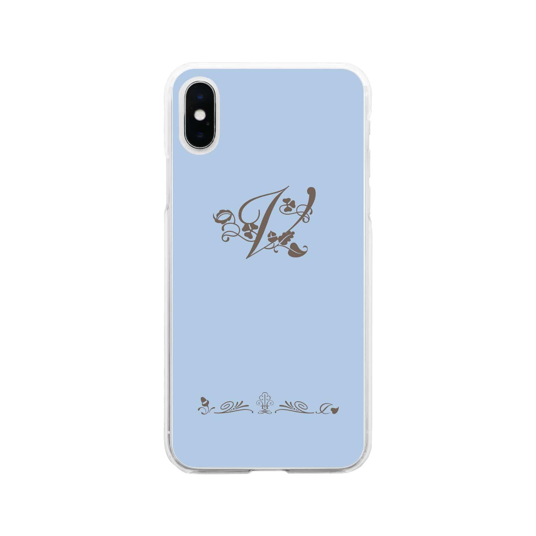 sonoteniのアルファベット イニシャル ボタニカル ブルー V #175 Soft clear smartphone cases
