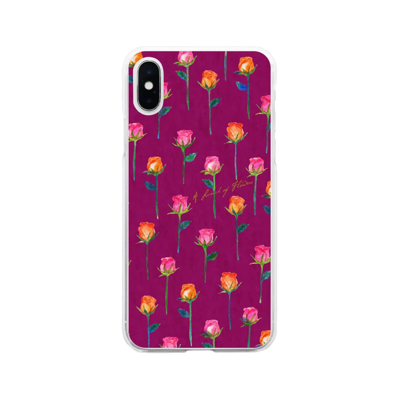 タイヤキ・エクスプリマのローズフラワー/ダークローズ Soft clear smartphone cases