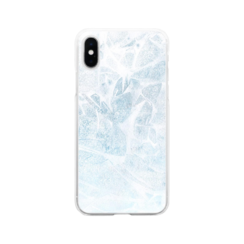 SANKAKU DESIGN STOREのひび割れた氷の湖。 Soft clear smartphone cases