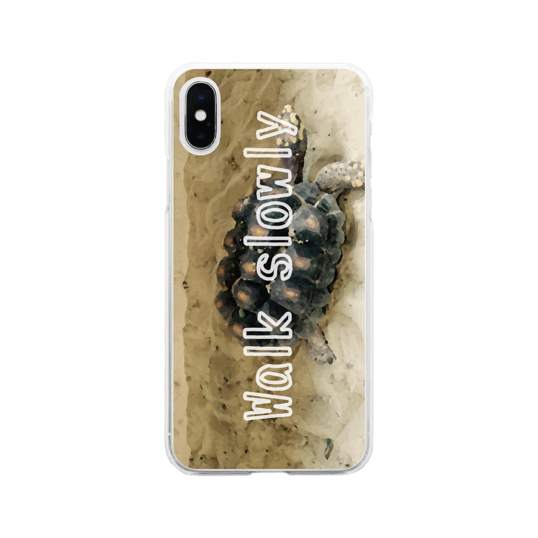 zikomanking SHOPのWalk slowly(スマホケース版) Soft clear smartphone cases